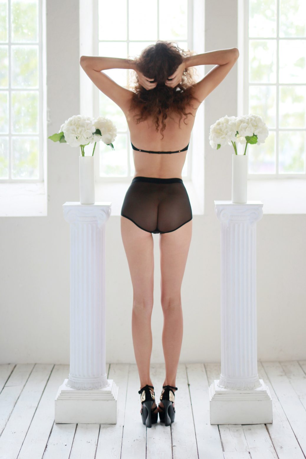 Black Mesh High Waist Panties With Layering In The Front