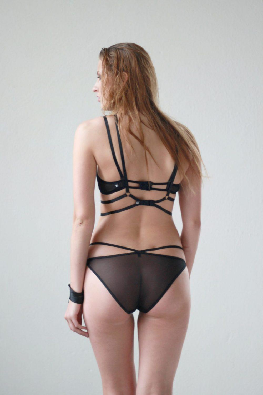 Black Mesh Diamond Shaped Panties With Straps