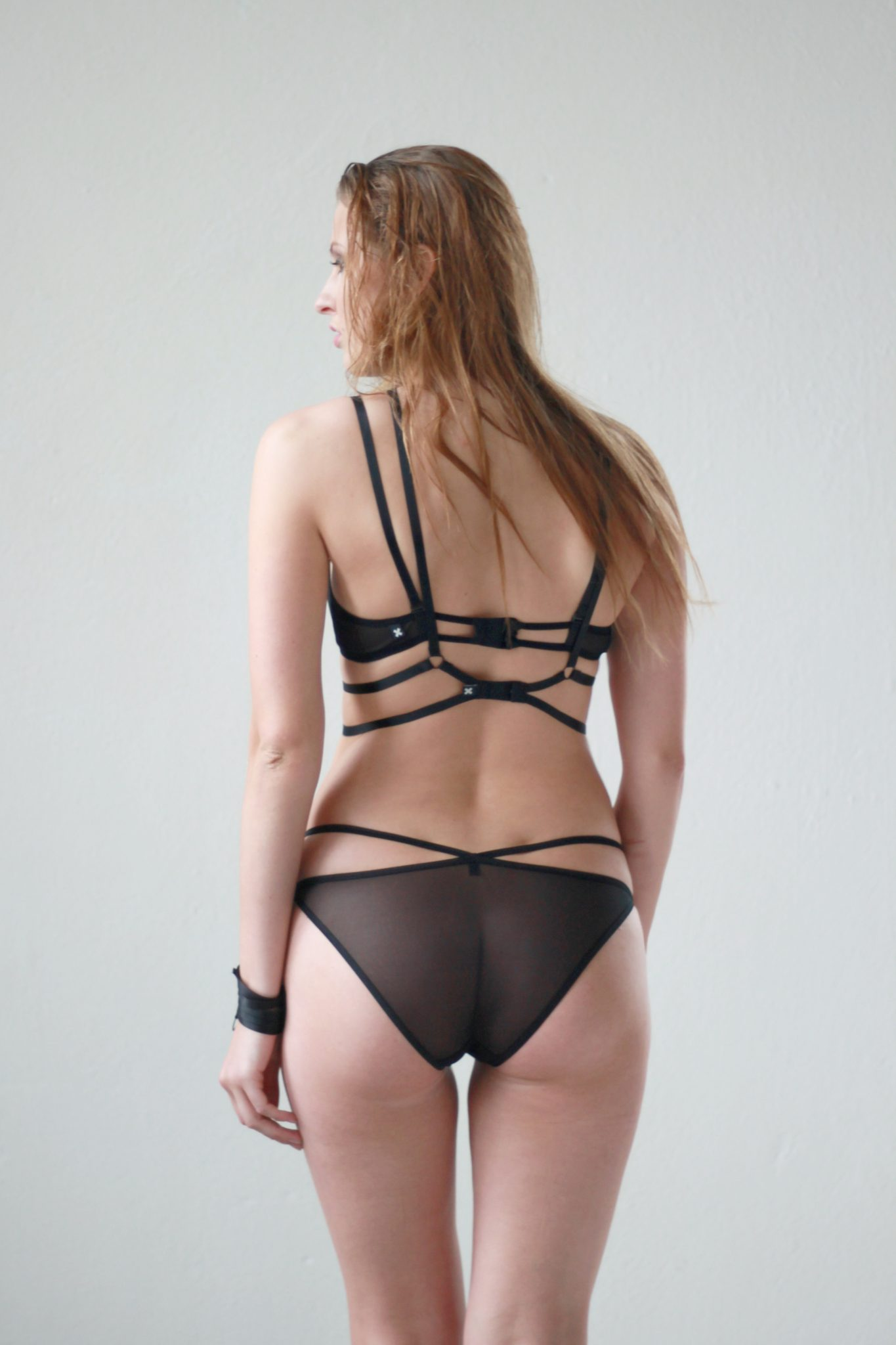 black mesh diamond shaped panties with straps flashyouandme