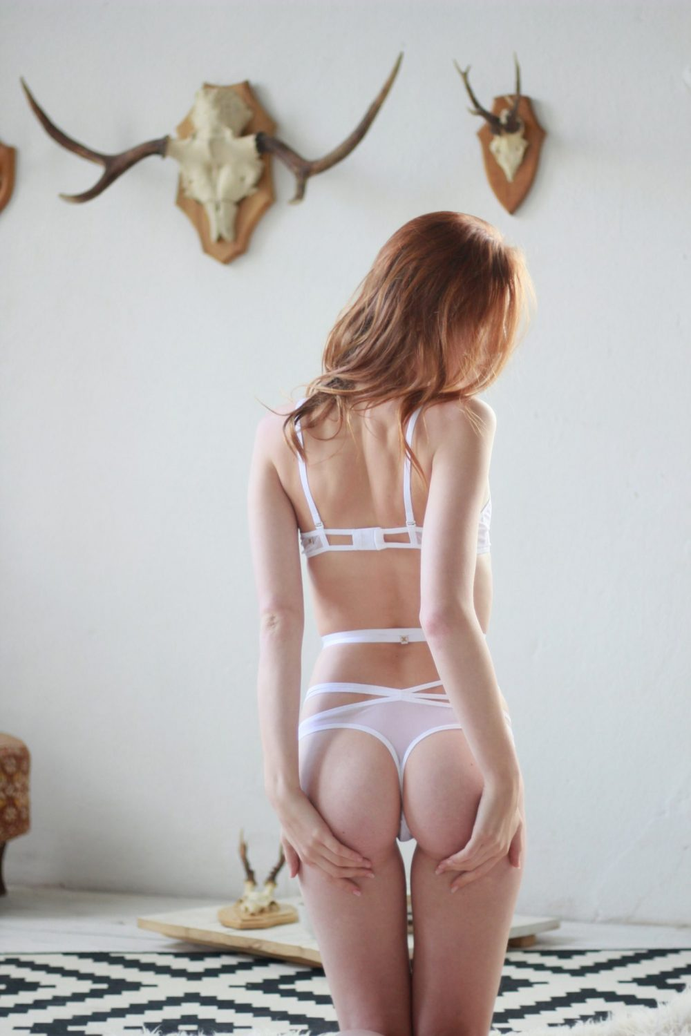 White Mesh Thong With Straps