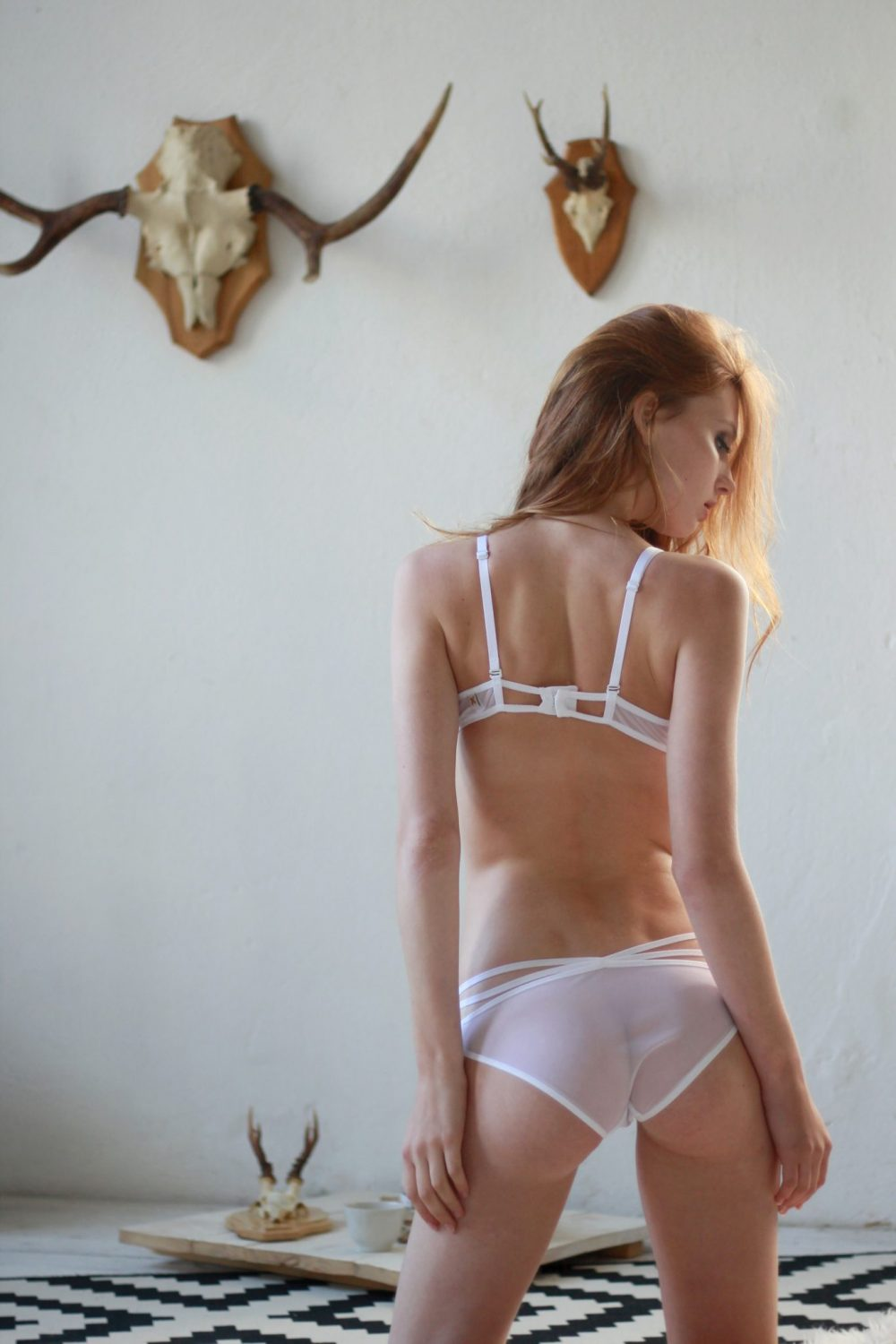 White Mesh Low Cut Panties With Decorative Straps