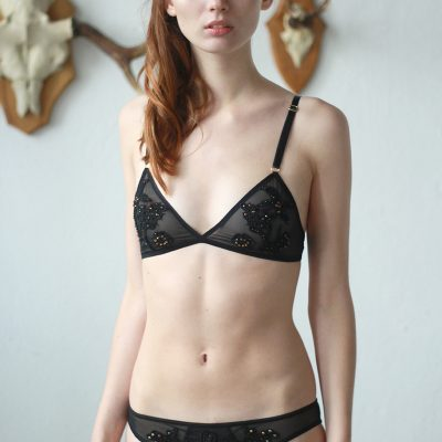 Black Mesh Panties With Black Lace Applique