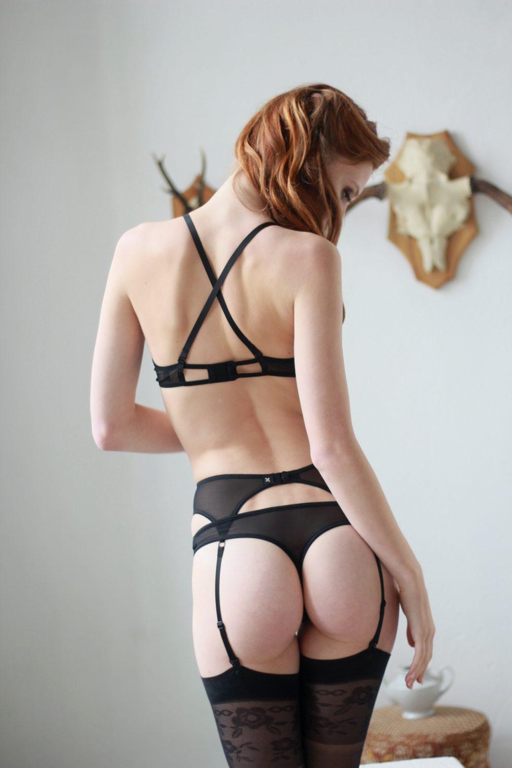 Black Mesh Thong