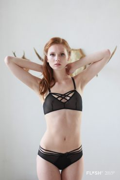 Black Mesh Double Cross Bralette
