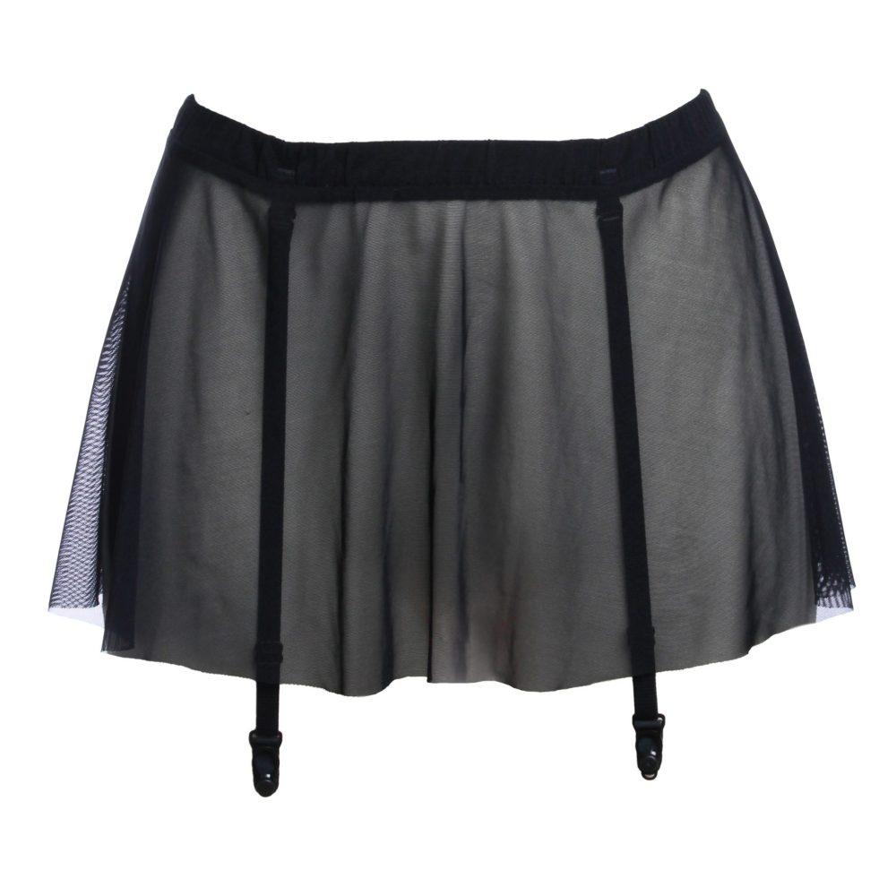 Black Mesh Skirt Garter Belt