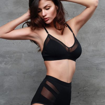Black Jersey Bralette With Sheer Mesh Lining