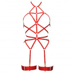 Magdalena Bondage Playsuit in Red