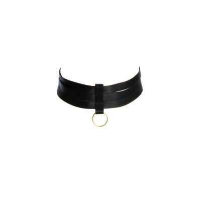 Black Choker Bondage Accessory with Golden Sliders and Ring