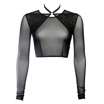 Black Mesh Choker Crop Top With Long Sleeves