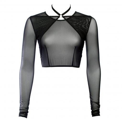 Black Mesh Choker Crop Top With Long Sleeves
