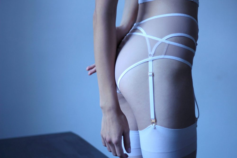 Nude Mesh Low-Cut Panties With White Elastics and Lace Applique