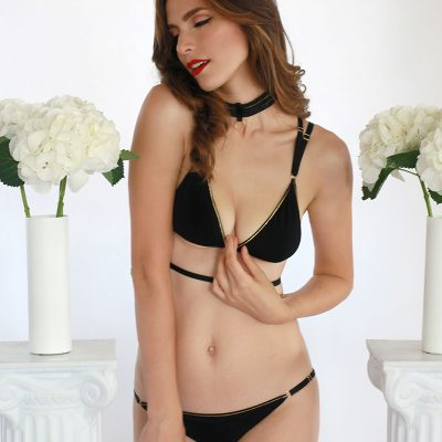 Black Jersey Triangle Panties With Golden Trimming and Sliders