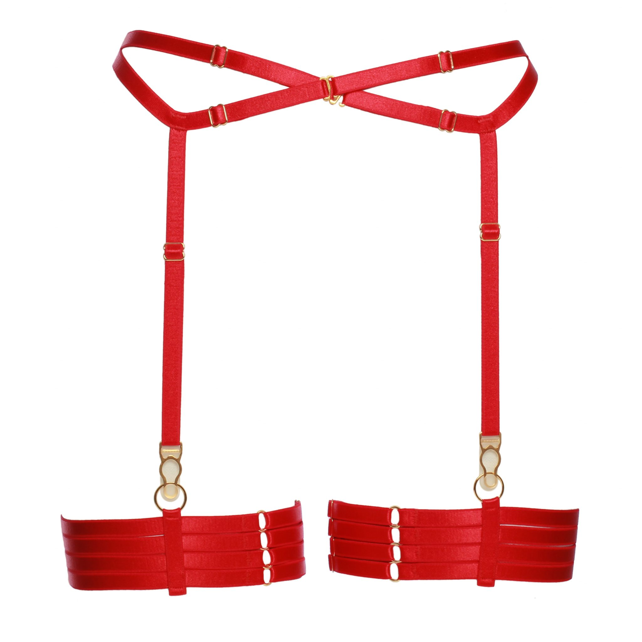 Set of Red Bondage Garter Belt With Four Strap Leg Garters