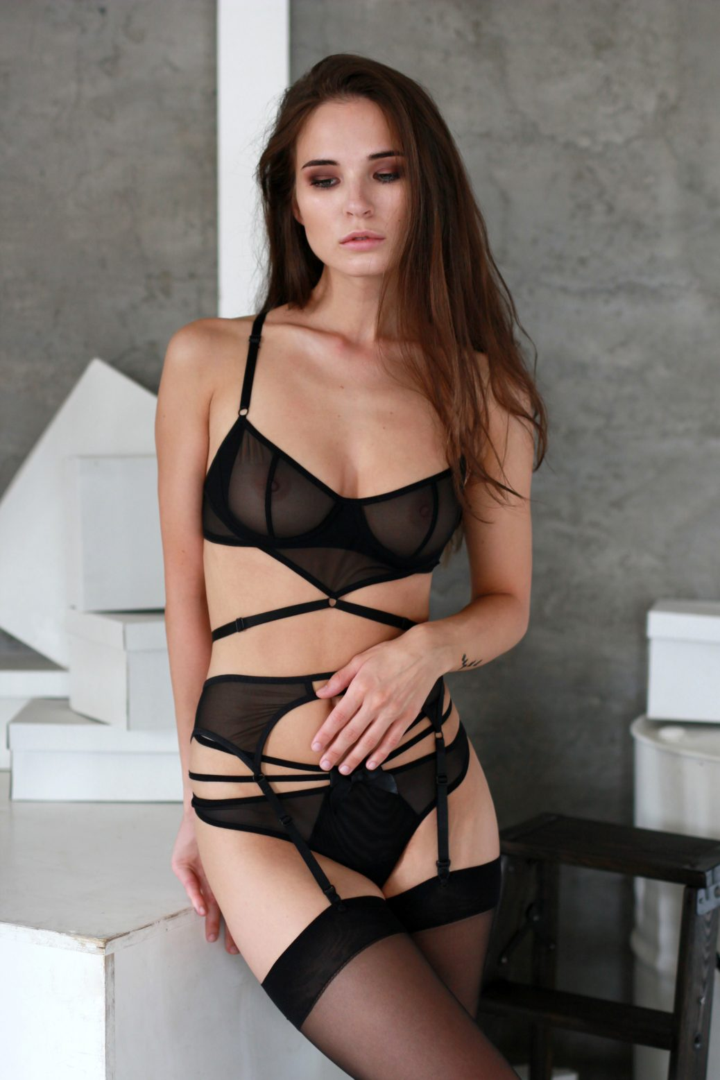 Black Mesh Underwire Bra With Triangle and Bondage Detailing