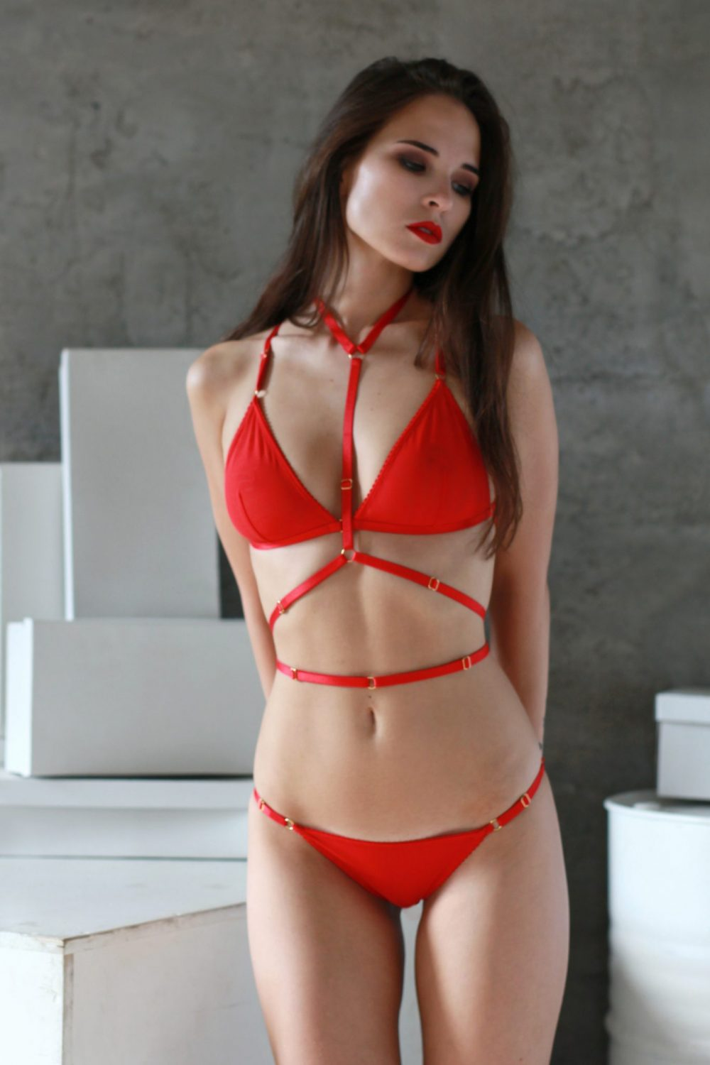 The Louise Harness in Red with Golden Sliders