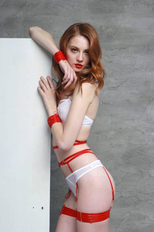 Set of Red Bondage Garter Belt With Four Strap Leg Garters