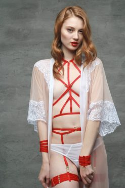 The Ruby Harness in Red with Golden Sliders