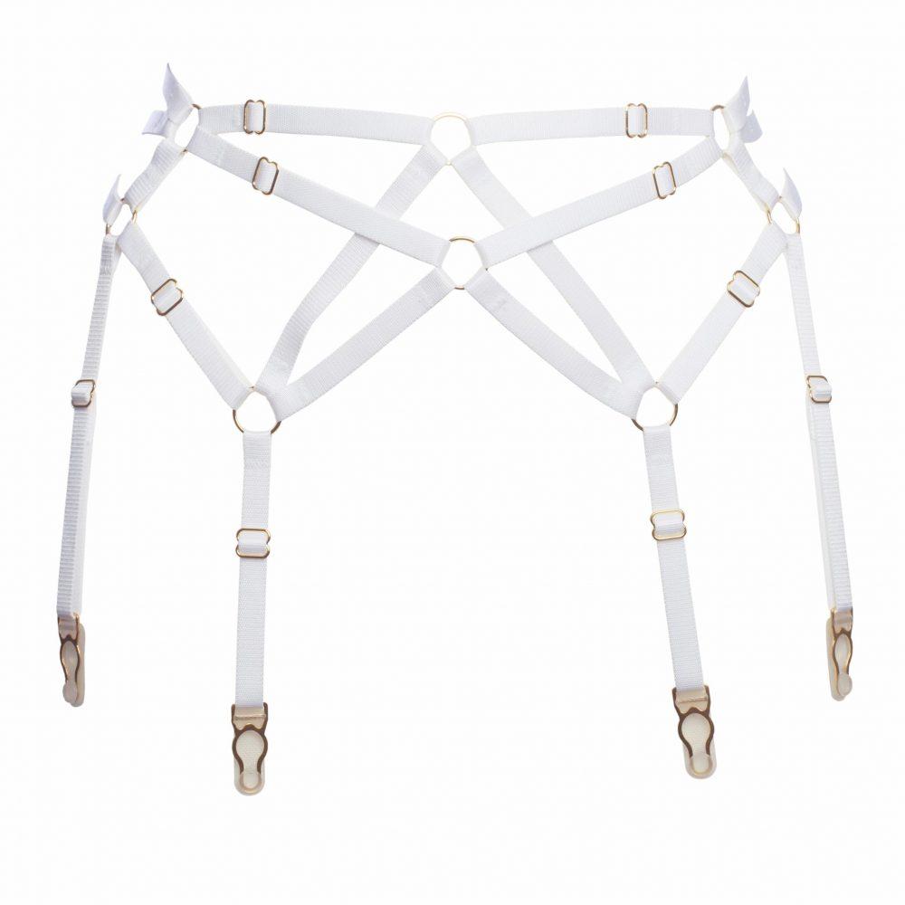 Six Strap Bondage Garter Belt in White