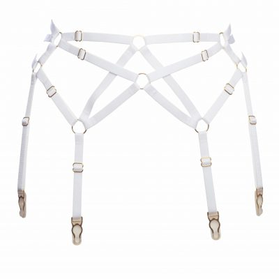 Six Strap Bondage Garter Belt in White