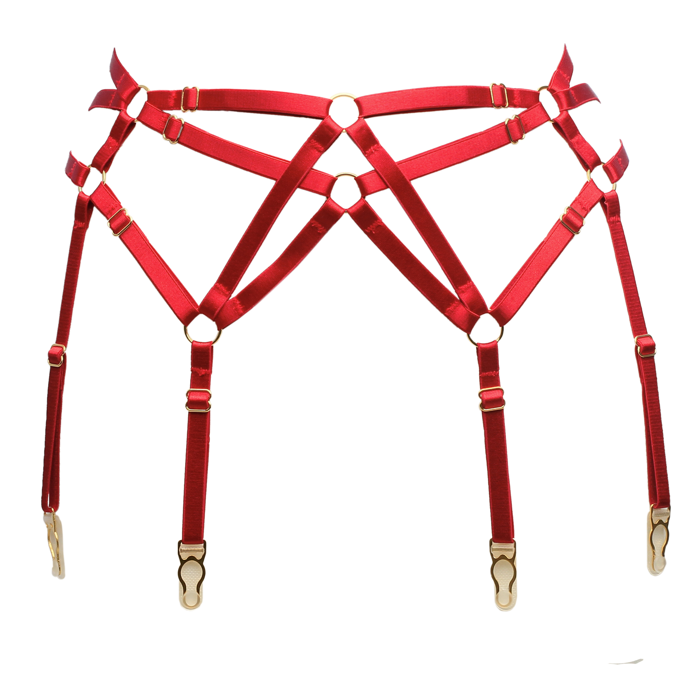 Six Strap Bondage Garter Belt in Red With Golden Sliders