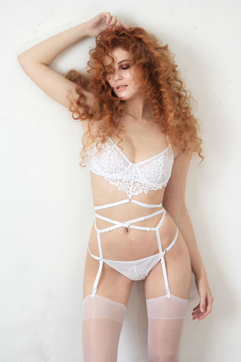 White Mesh Bra With Delicate Lace and Bondage Detailing
