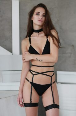 Black Jersey Triangle Panties With Black Sliders