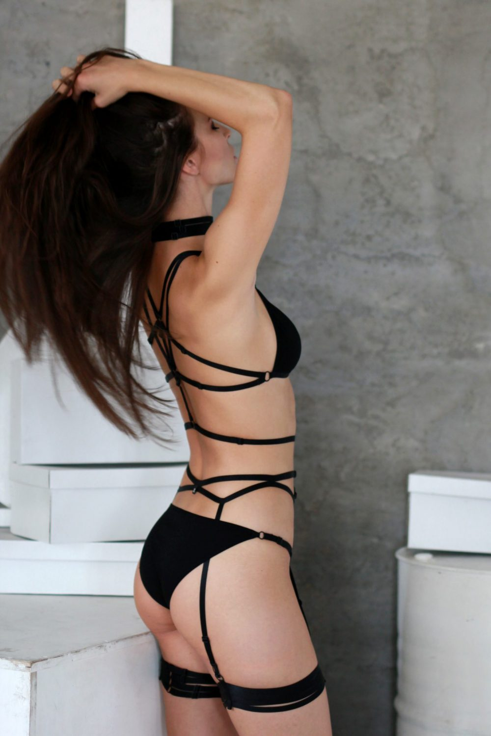 Black Jersey Triangle Panties With Black Sliders
