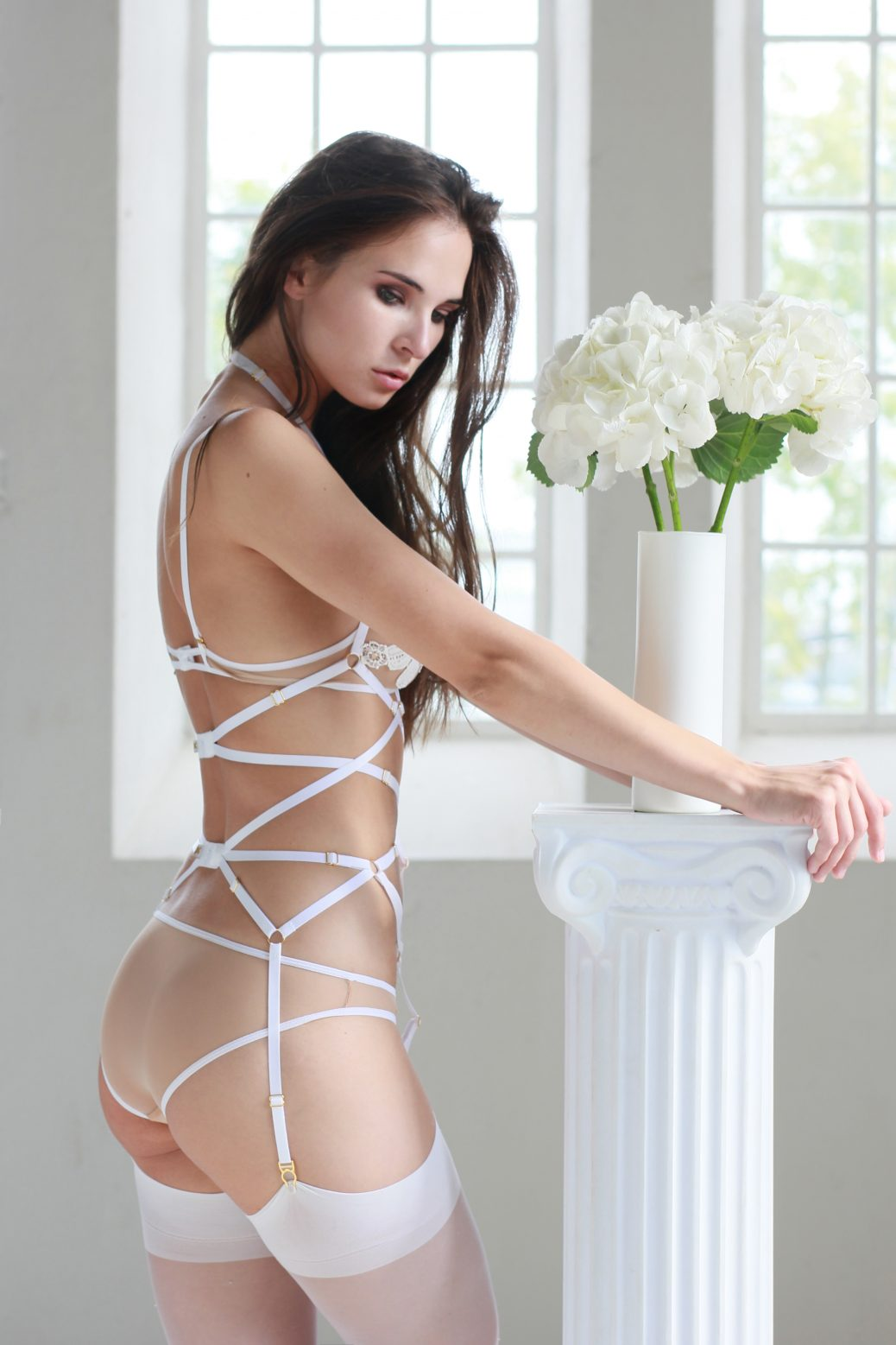 Magdalena Bondage Playsuit in White