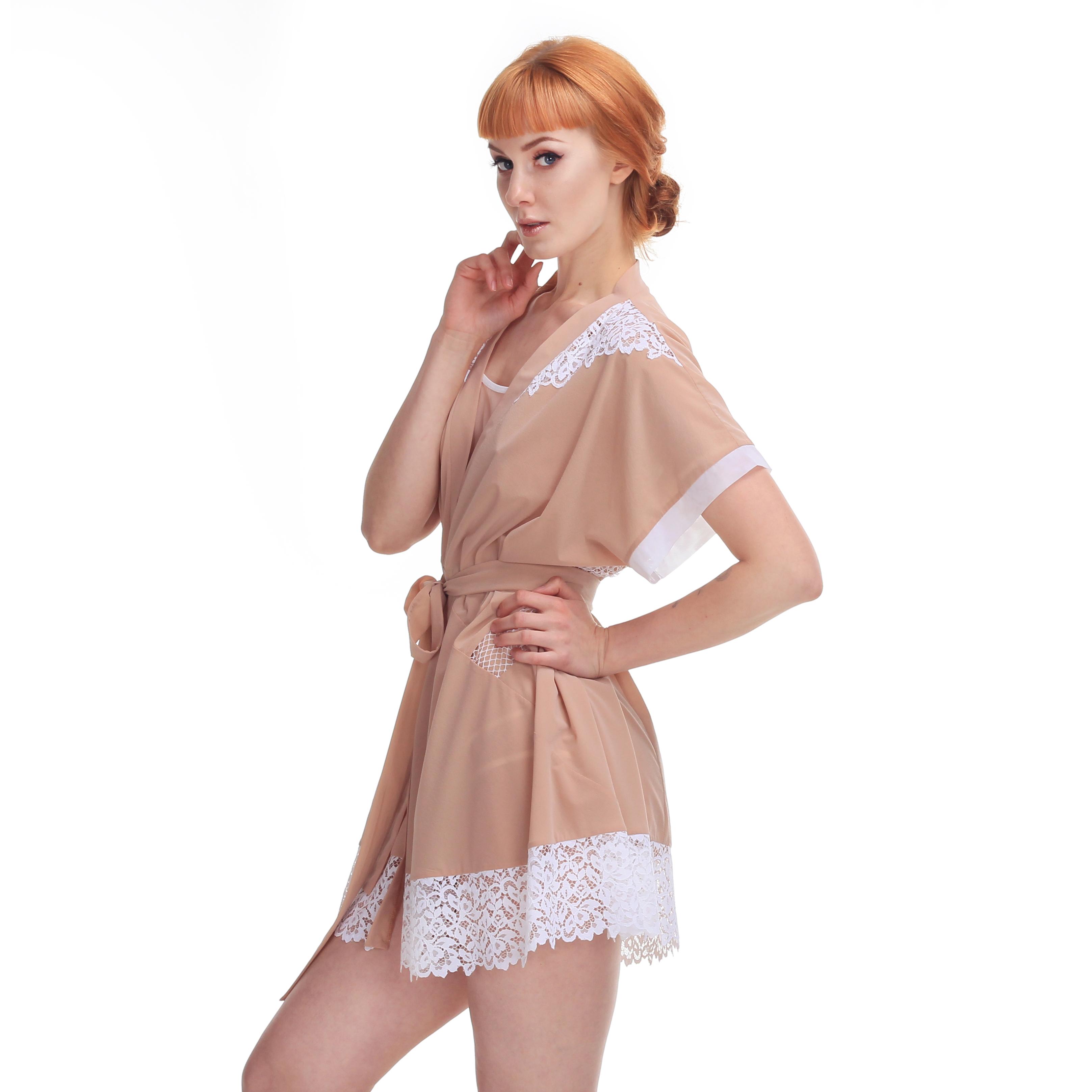 Nude Short Kimono With White Lace
