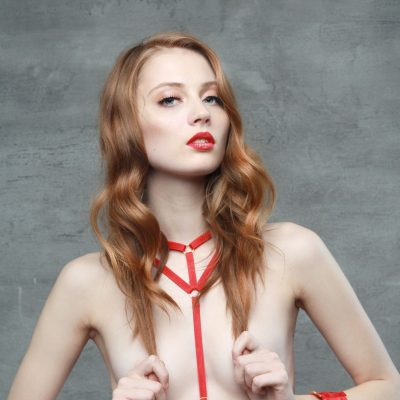 The Emma Harness In Red with Golden Sliders