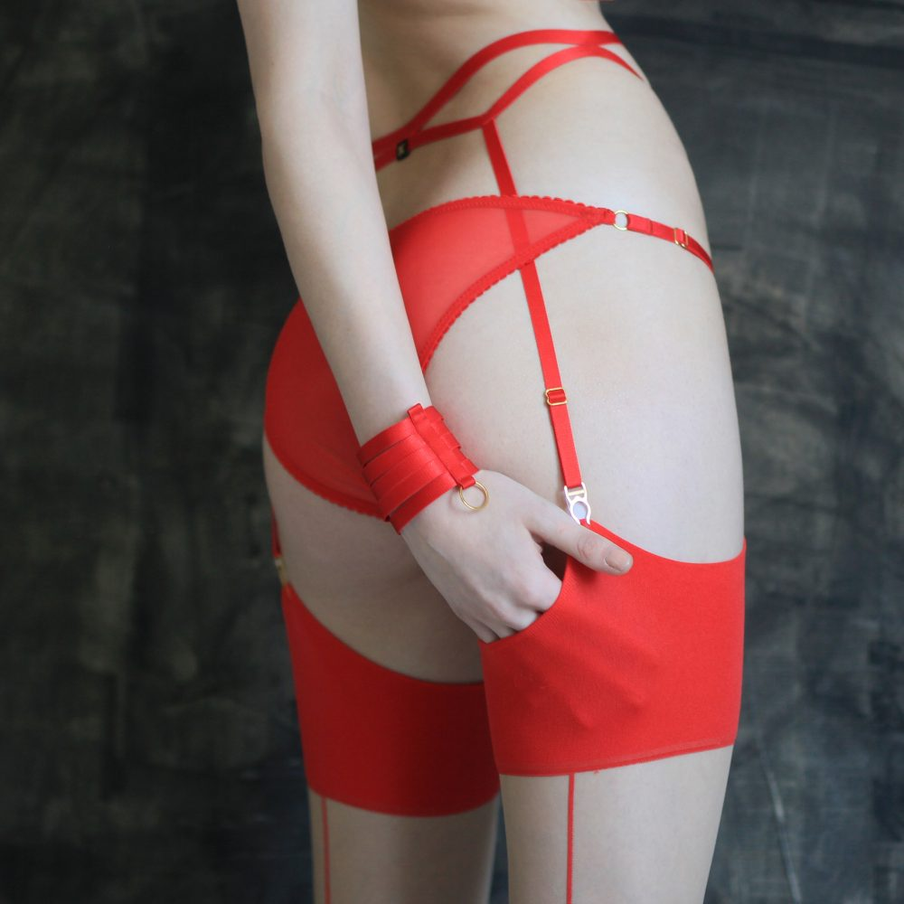 Red Bondage Garter Belt with Gold Sliders