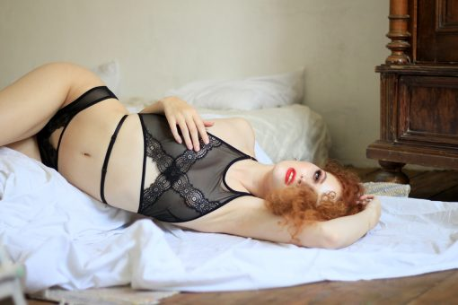 Black Mesh Halter Top With Black Lace