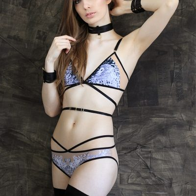 Nude mesh lingerie set with lion print