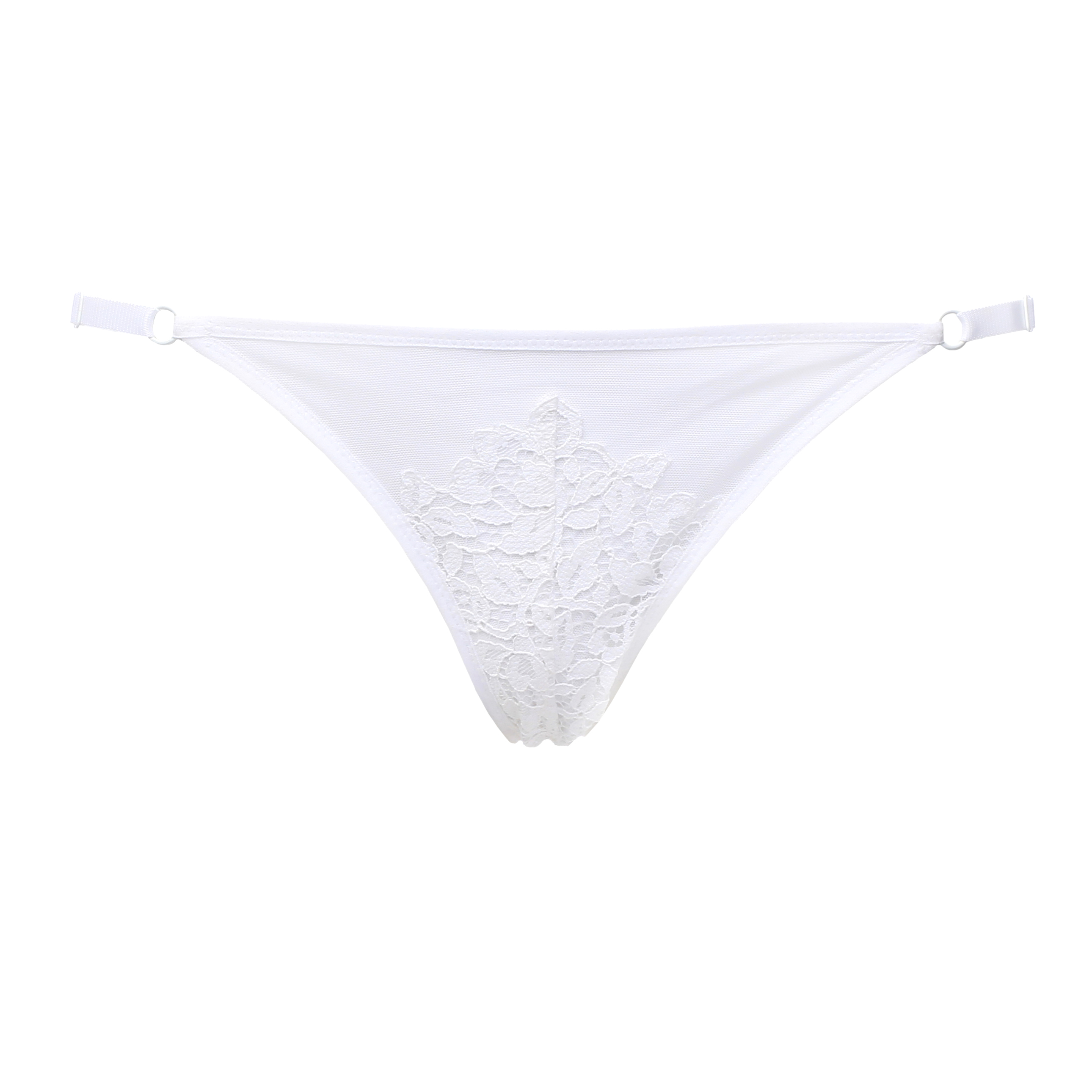 White Mesh Triangle Panties With White Lace