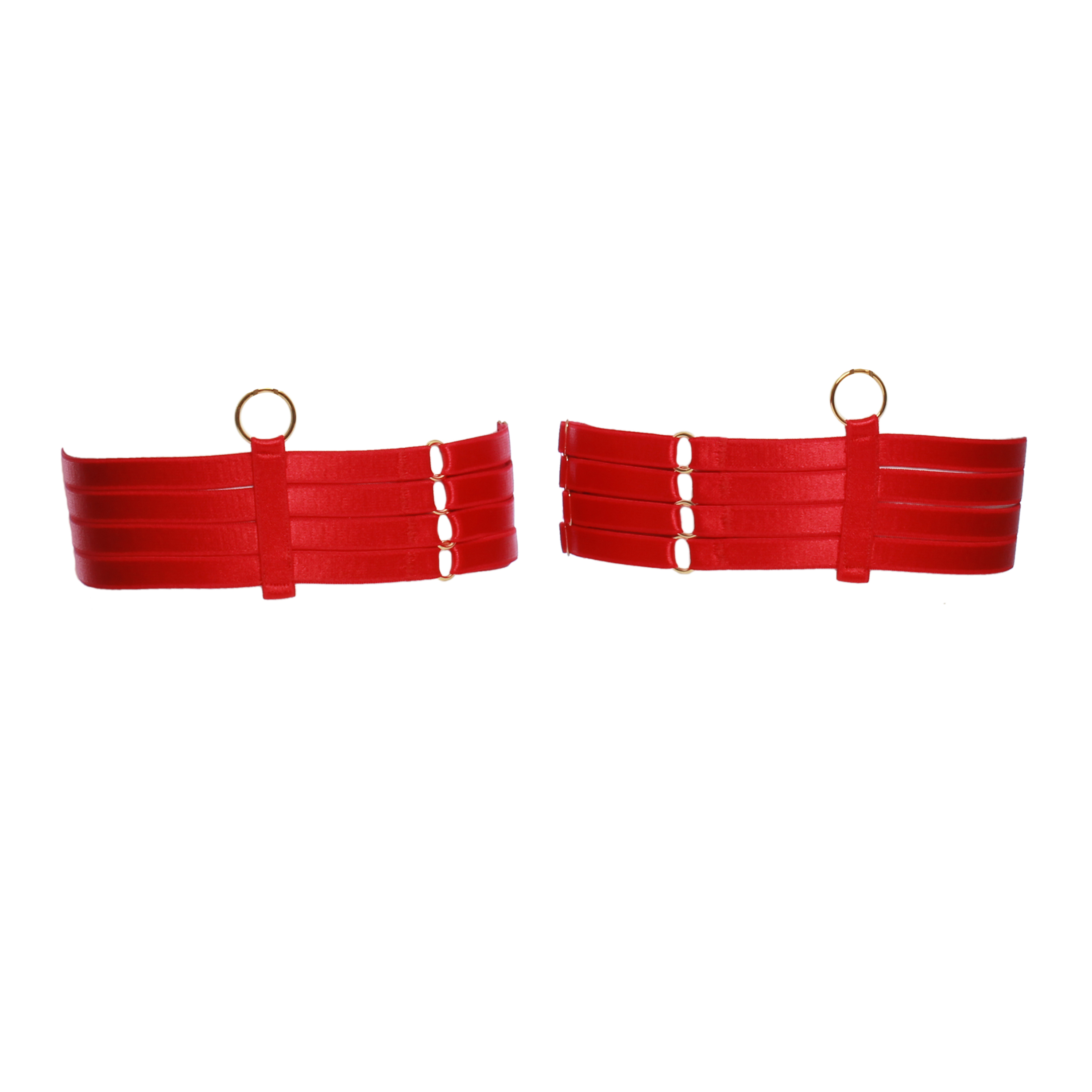 Four Strap Bondage Leg Garters in Red