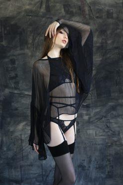 Black seamed stockings