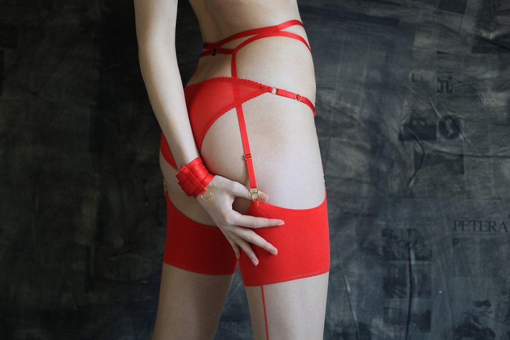 Red Bondage Garter Belt with Gold Sliders