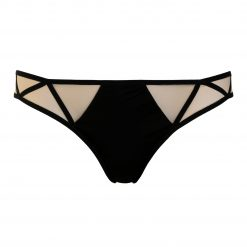Low cut Jersey Panties with Nude Mesh and Decorative Straps