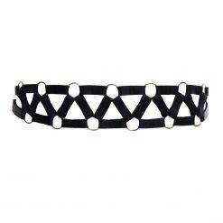 Black Bondage Belt with Decorative Golden Rings