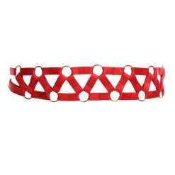 Red Bondage Belt with Decorative Golden Rings