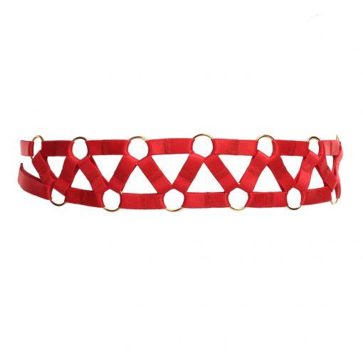 Red Bondage Belt with Decorative Golden Rings