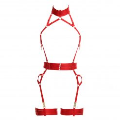ALIVIA Bondage Playsuit in Red with Gold