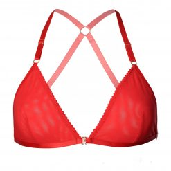 Red Mesh Triangle Bralette with Bondage Straps