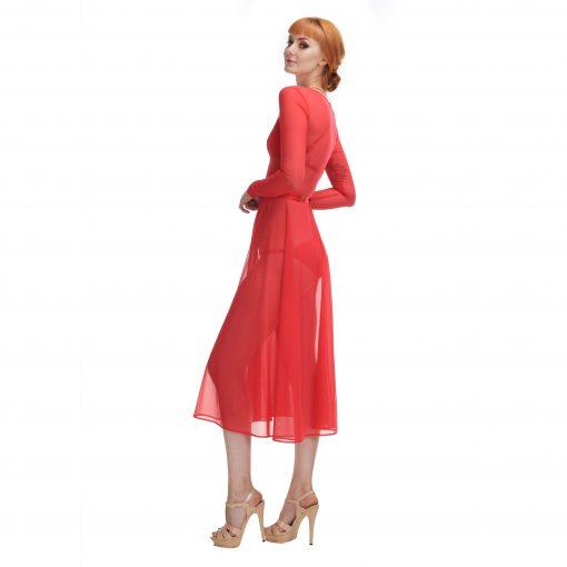 Sheer Red Mesh Midi Dress