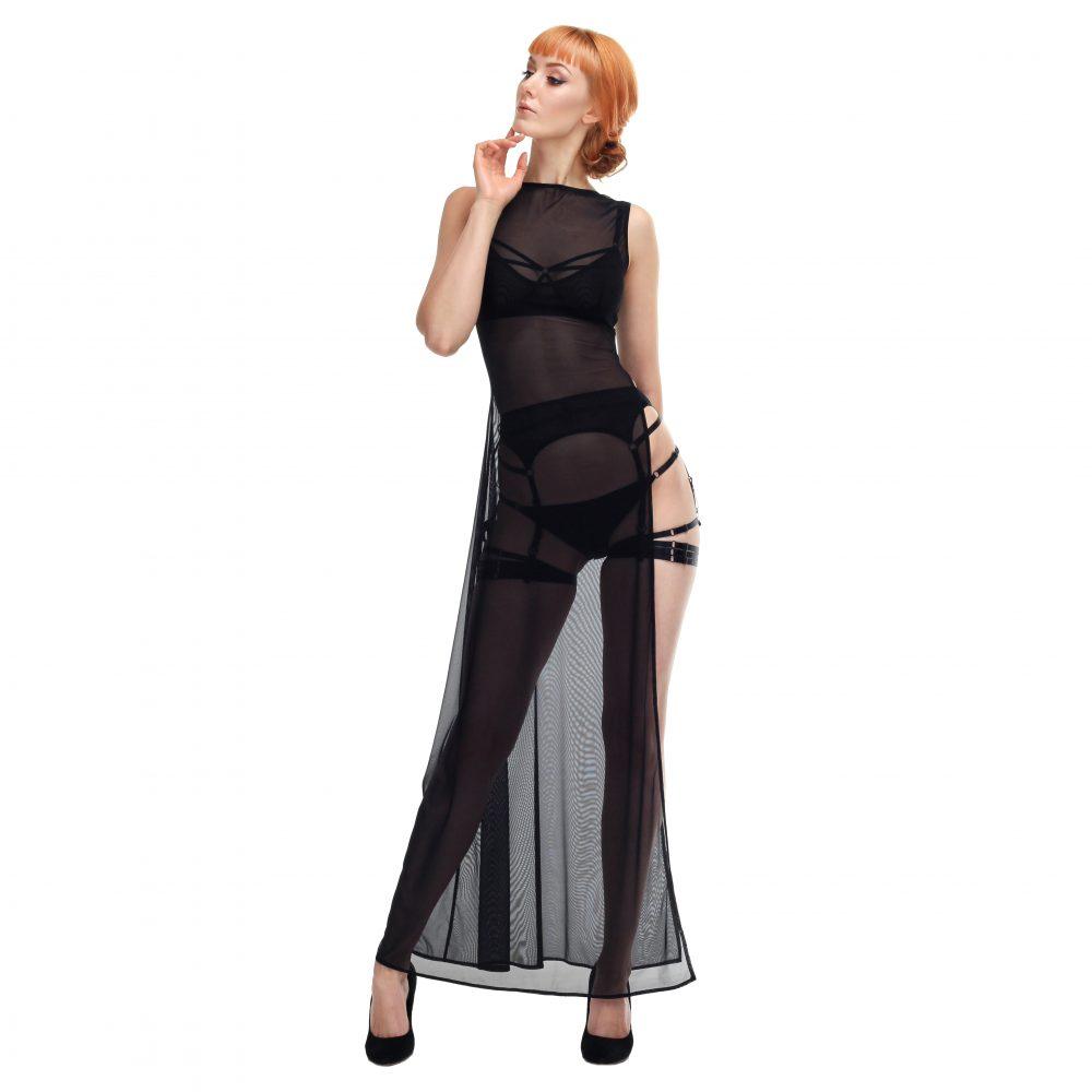 Sheer Black Mesh Long Dress with a Split