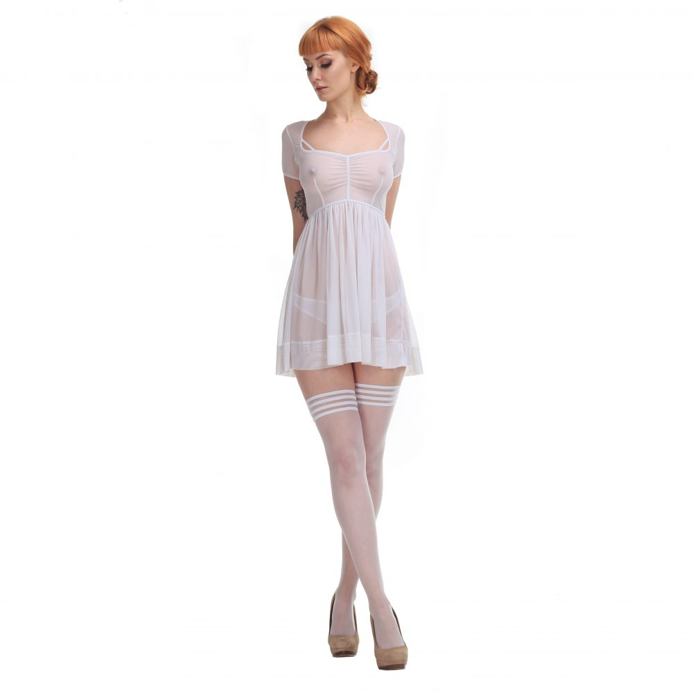 Sheer White Hold Ups with Decorative Stripes