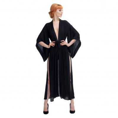 Black Kimono With Splits and Cut-out in the Back