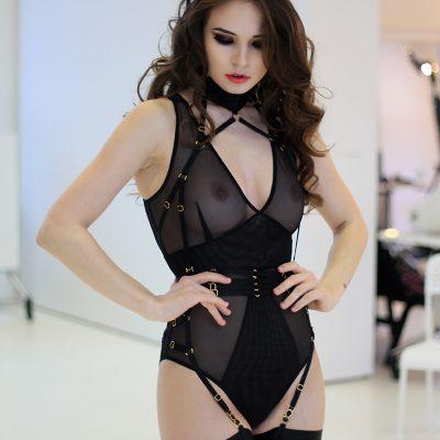 Black Mesh Bodysuit With Layering