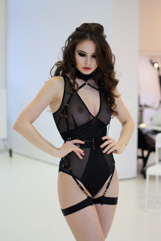 Black Mesh Bodysuit With Layering