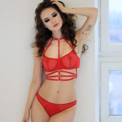 Red Mesh Thong